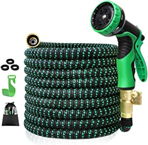 XUNHON Expandable Garden Hose 25ft Durable Flexible Water Hose, 9 Function Spray Hose Nozzle, 3/4