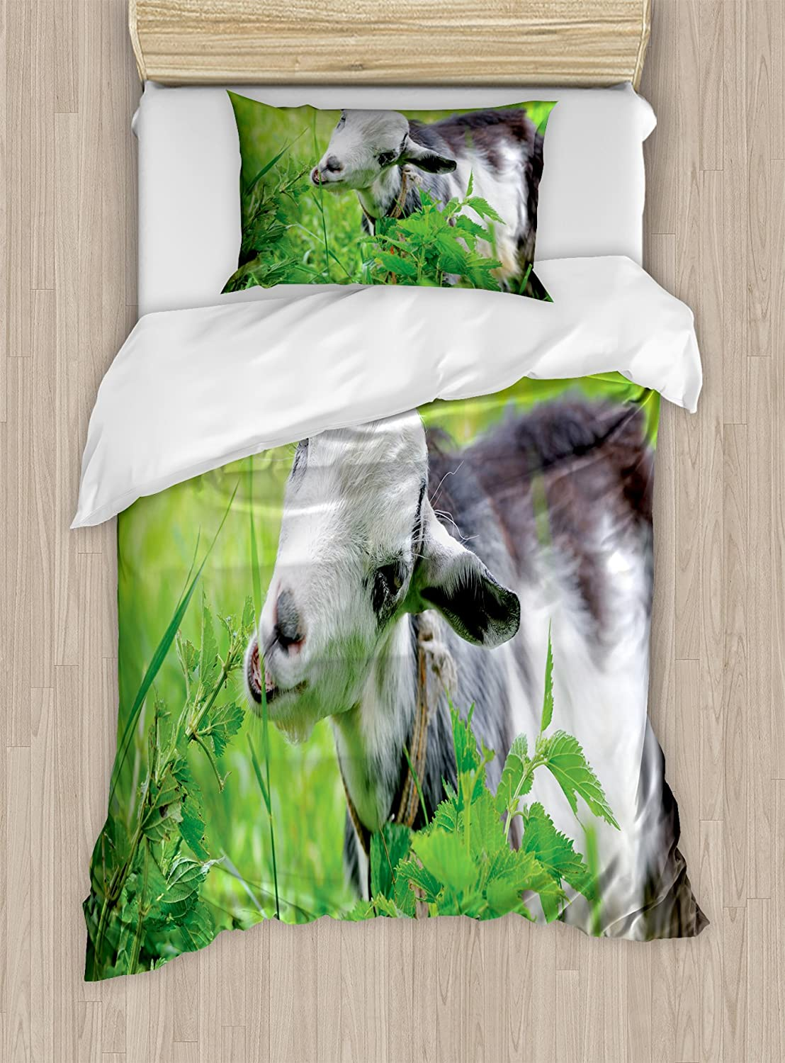 Lunarable Goat Duvet Cover Set, Domestic Farm Mammal on a Pasture Grazing on The Grass Spring Fresh Leaves, Decorative 2 Piece Bedding Set with 1 Pillow Sham, Twin Size, Fern Green