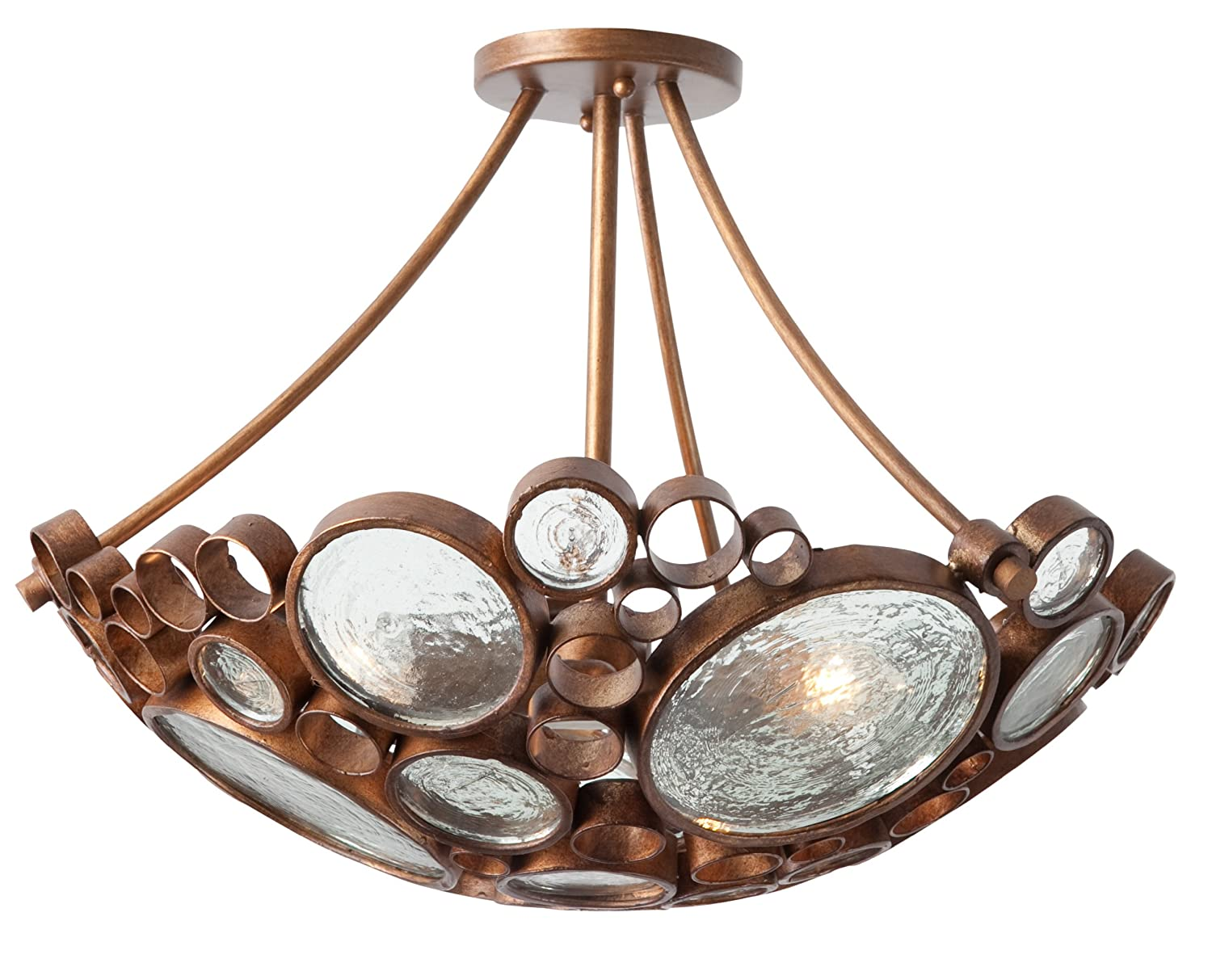 varaluz sho fascination collection light semiflush  - varaluz sho fascination collection light semiflush hammered orefinish with recycled bottle glass shade inch by inch  semi flushmount