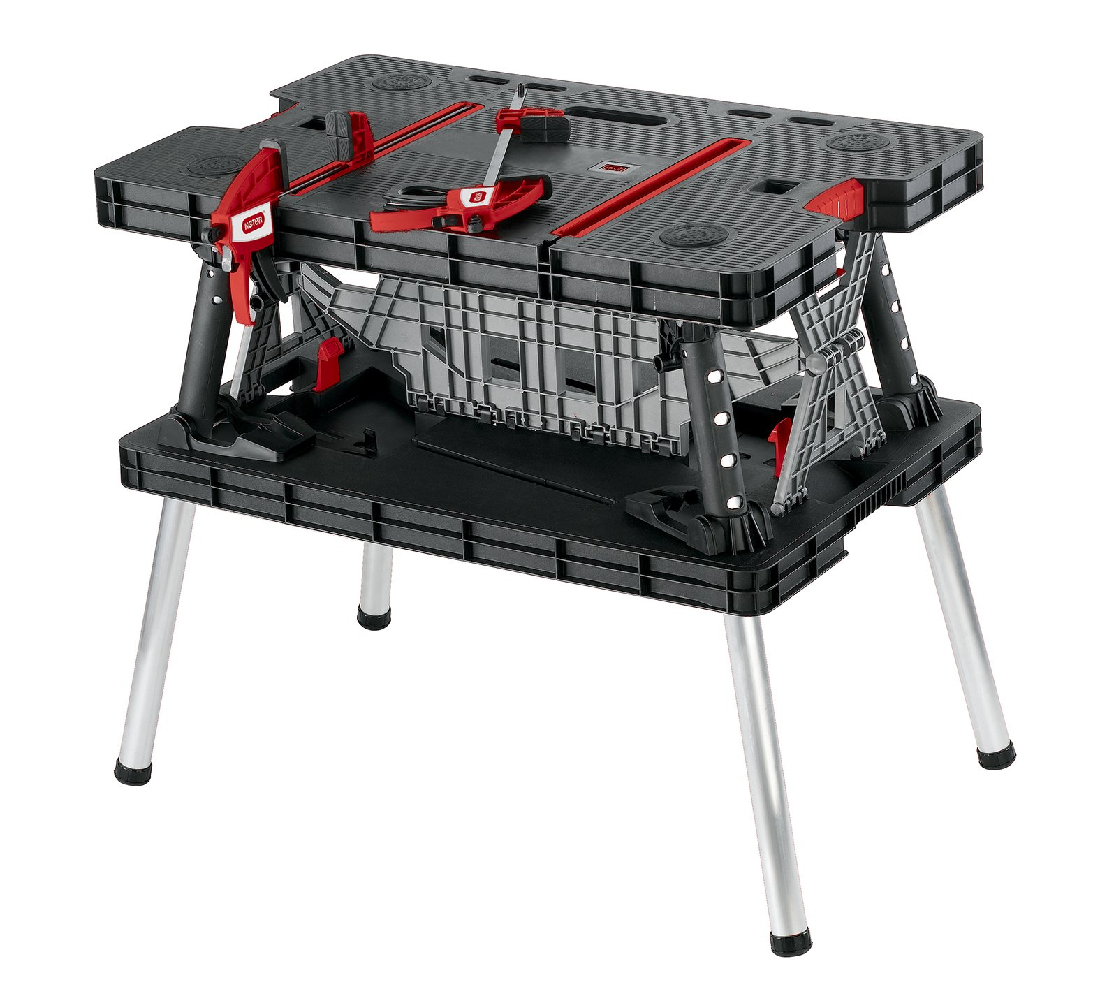 Keter 17182239 Master Pro DIY Folding Work Table, 85 x 55 x 75.5 cm - Black/Red by Keter