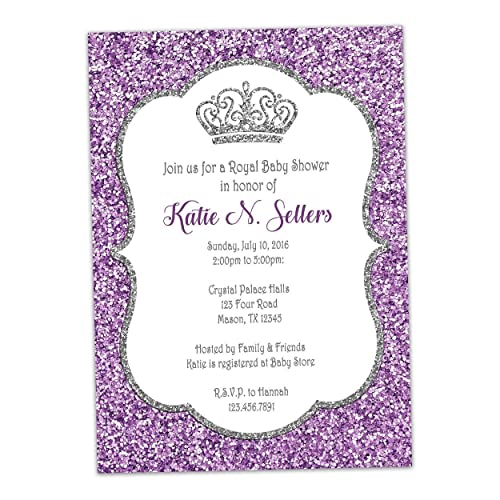 Amazon purple silver princess baby shower invitation glitter purple silver princess baby shower invitation glitter royal crown filmwisefo Choice Image