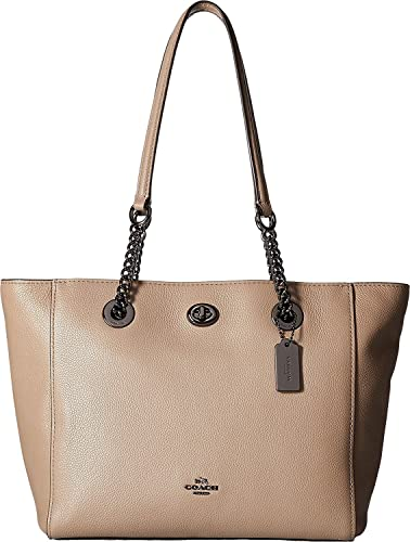 Amazon.com  COACH Women s Pebbled Leather Turnlock Chain Tote 27 Dk Stone  Handbag  Shoes db000f846fb14