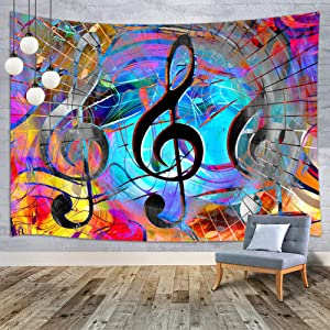 MERCHR Music Tapestry, Trippy Musical Note Tapestry Wall Hanging for Bedroom, Hippie Tapestry Rock Style Lover Wall Hanging Beach Blanket College Dorm Home Decor 60X40 Inches