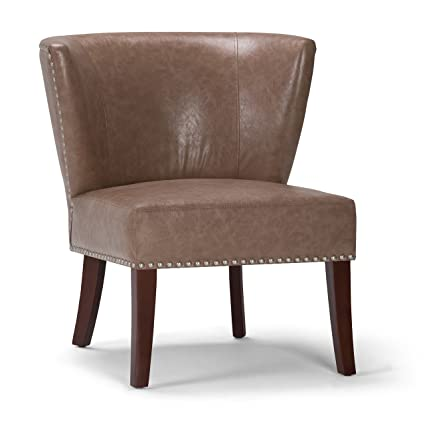 Awesome Simpli Home Axcchr 009 Dt Jamestown Accent Chair In Dark Taupe Bonded Leather Dailytribune Chair Design For Home Dailytribuneorg