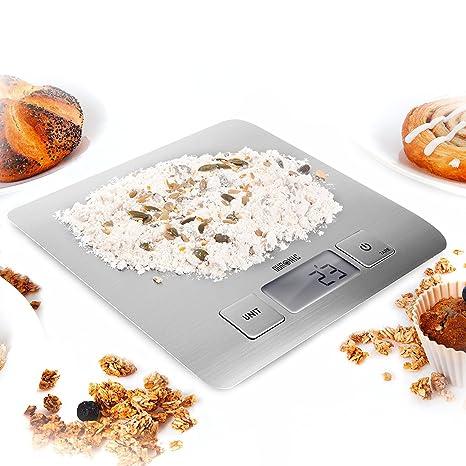 Duronic KS1009 Báscula Digital para Cocina de Acero inoxidable - Balanza de Alimentos Multifuncional - Peso