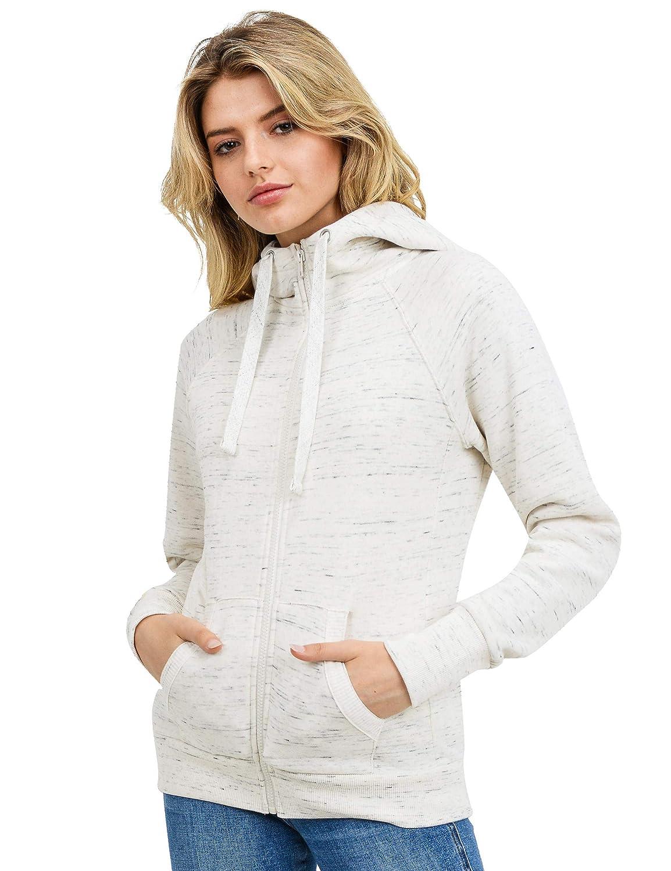 esstive Women's High-Neck Ultra Soft Fleece Solid Full-Zip Hoodie Jacket
