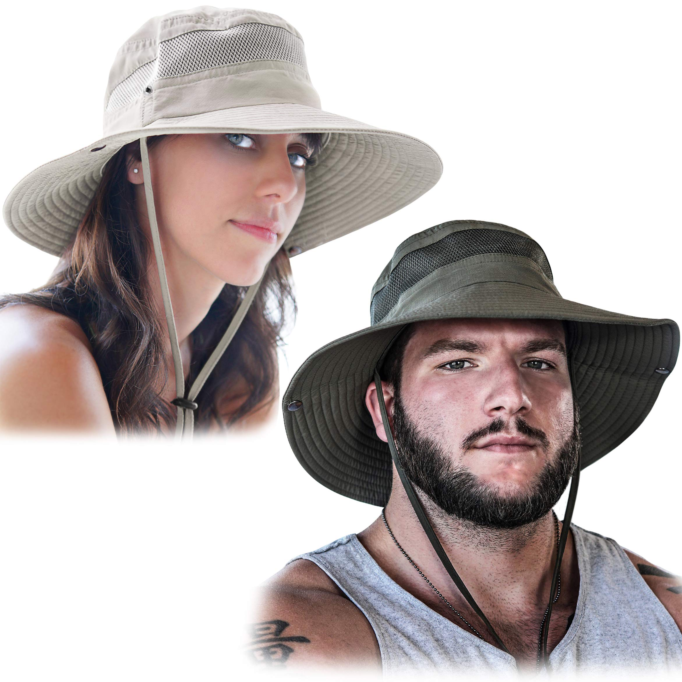 GearTOP Fishing Hat and Safari Cap with Sun Protection   Premium Hats for Men and Women (Army Green and Beige (2 Pack), 2 Pack) by GearTOP