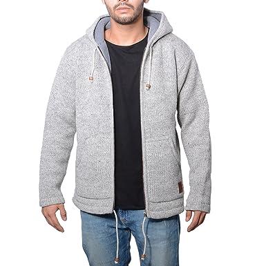 f2dfb16e2745 Herren Strickjacke Wolle Jacke mit warmen Fleecefutter und Kapuze von Kunst  und Magie  Amazon.de  Bekleidung