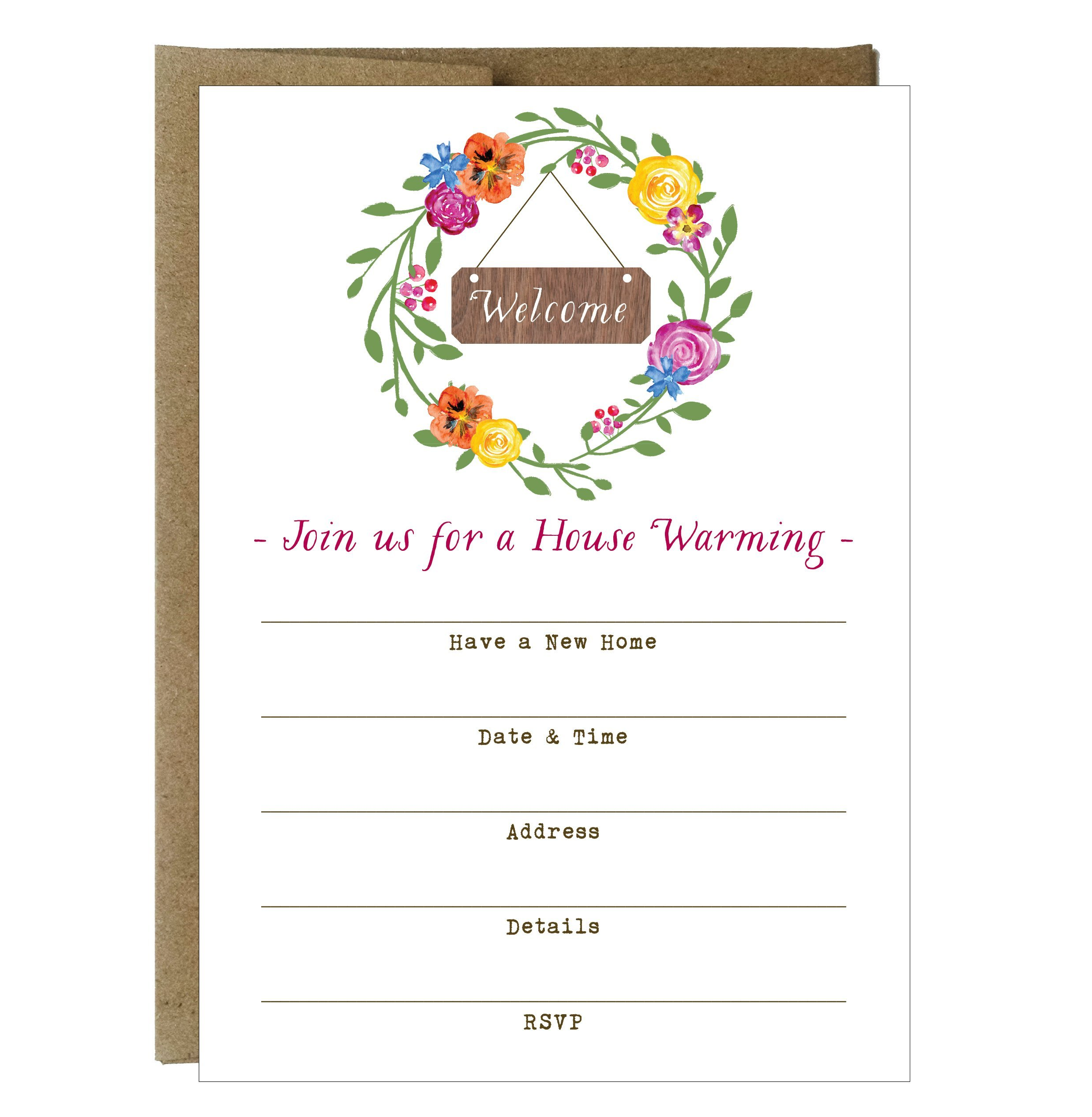 Watercolor Design Wreath Happy House Warming Fill-in Invitations - 10 pack