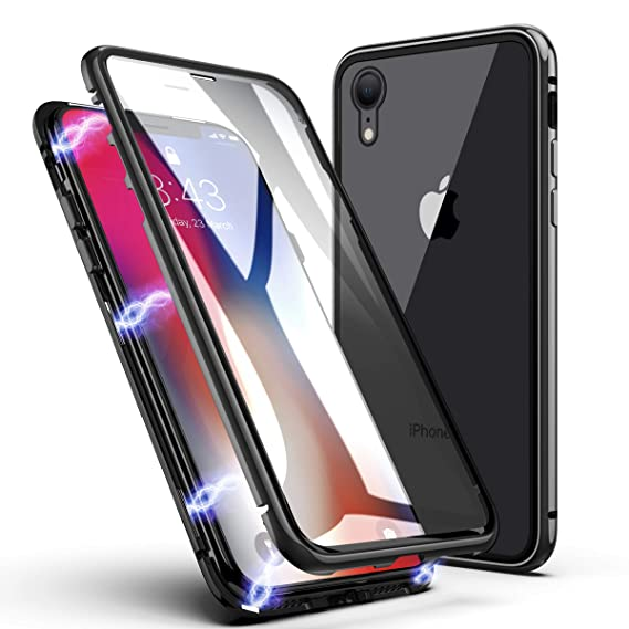 quality design 583ce 6f25b iPhone XS Max Case, ZHIKE Magnetic Adsorption Case Front and Back Tempered  Glass Full Screen Coverage One-Piece Design Flip Cover [Support Wireless ...