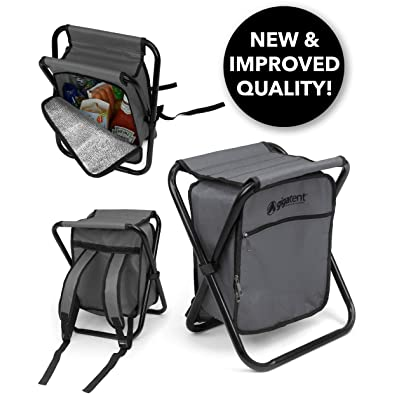 GigaTent Folding 3 in 1 Stool Backpack Folding Stool with Cooler Bag - Camping Hunting Fishing Multifunction Collapsible Camping Seat and Insulated Ice Bag with Padded Shoulder Straps (Gray) : Sports & Outdoors