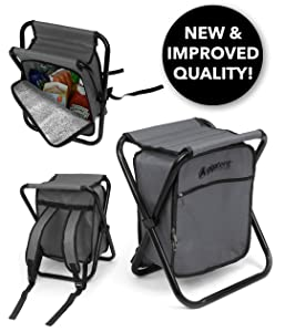 GigaTent Folding Cooler and Stool Backpack - Multifunction Collapsible Camping Seat and Insulated Ice Bag with Padded Shoulder Straps