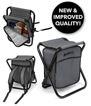 GigaTent Folding Cooler and Stool Backpack – Multifunction Collapsible Camping Seat and Insulated Ice Bag with Padded Shoulder Straps