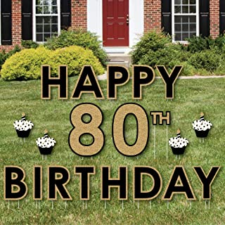 product image for Big Dot of Happiness Adult 80th Birthday - Gold - Yard Sign Outdoor Lawn Decorations - Happy Birthday Yard Signs