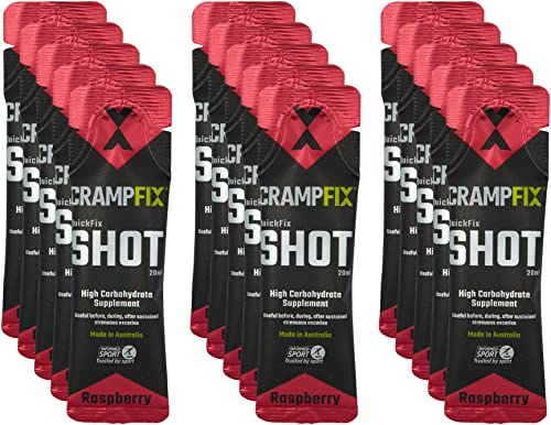CrampFix Sports Shot, Prevents and Relieves Muscle Cramps in Seconds, Easy Carry Sachets, 15 Pack, All Natural, Raspberry