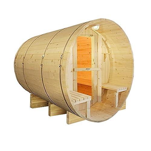 Aleko Finnish White Pine Indoor-Outdoor Wet Dry Barrel Sauna