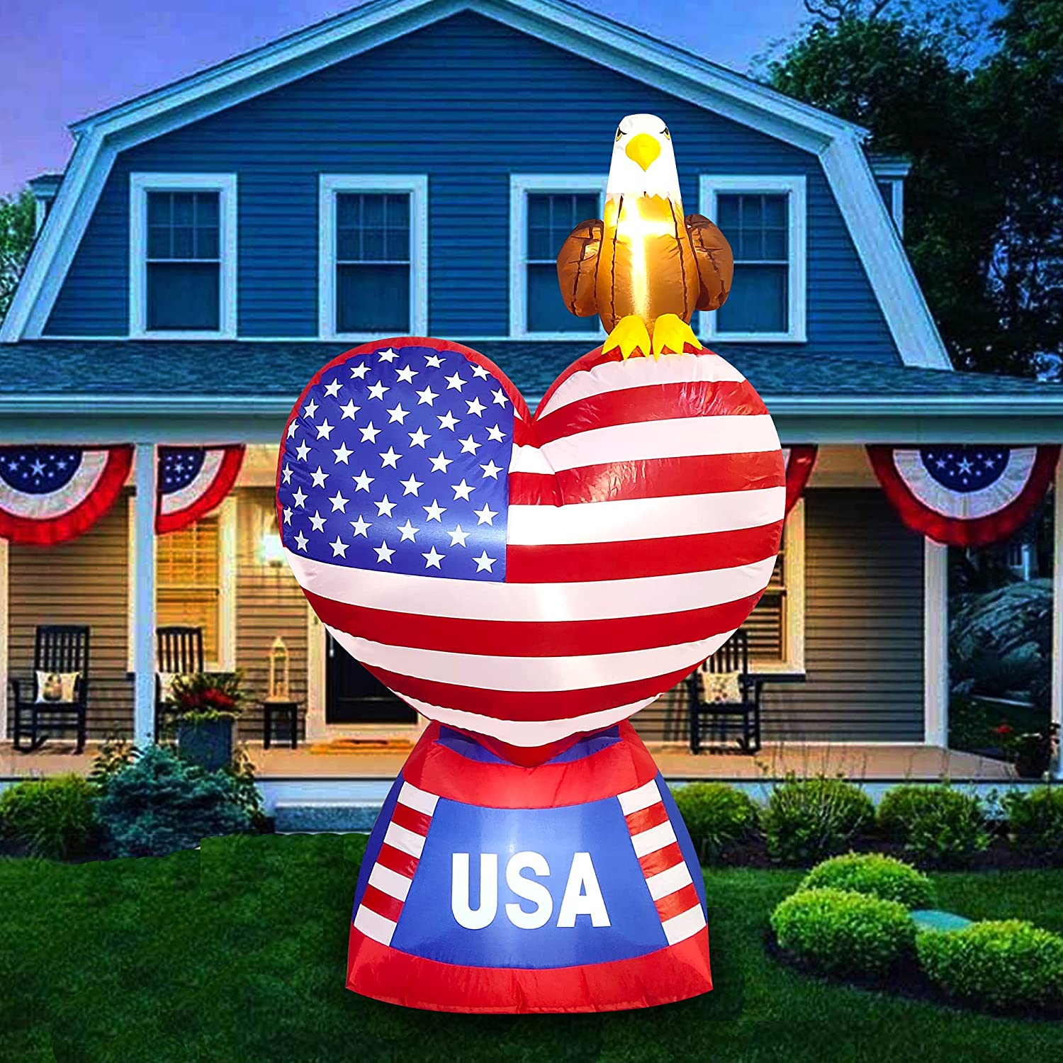 LAUJOY 5 Foot Patriotic Independence Day 4th of July Inflatable Love Heart American Flag Bald Eagle Blow Up Lighted Decor Parade Indoor Outdoor Holiday Garden Yard Decorations