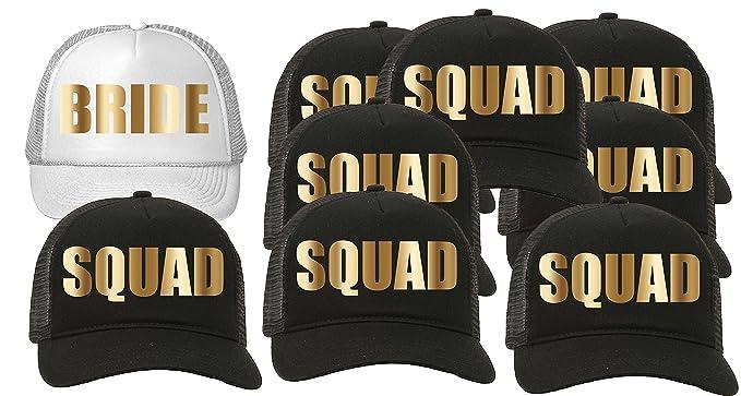 Trucker Hat Squad Bachelorette Party Wedding Set of 8-Squad-Black 1-Bride e463a1f9c444