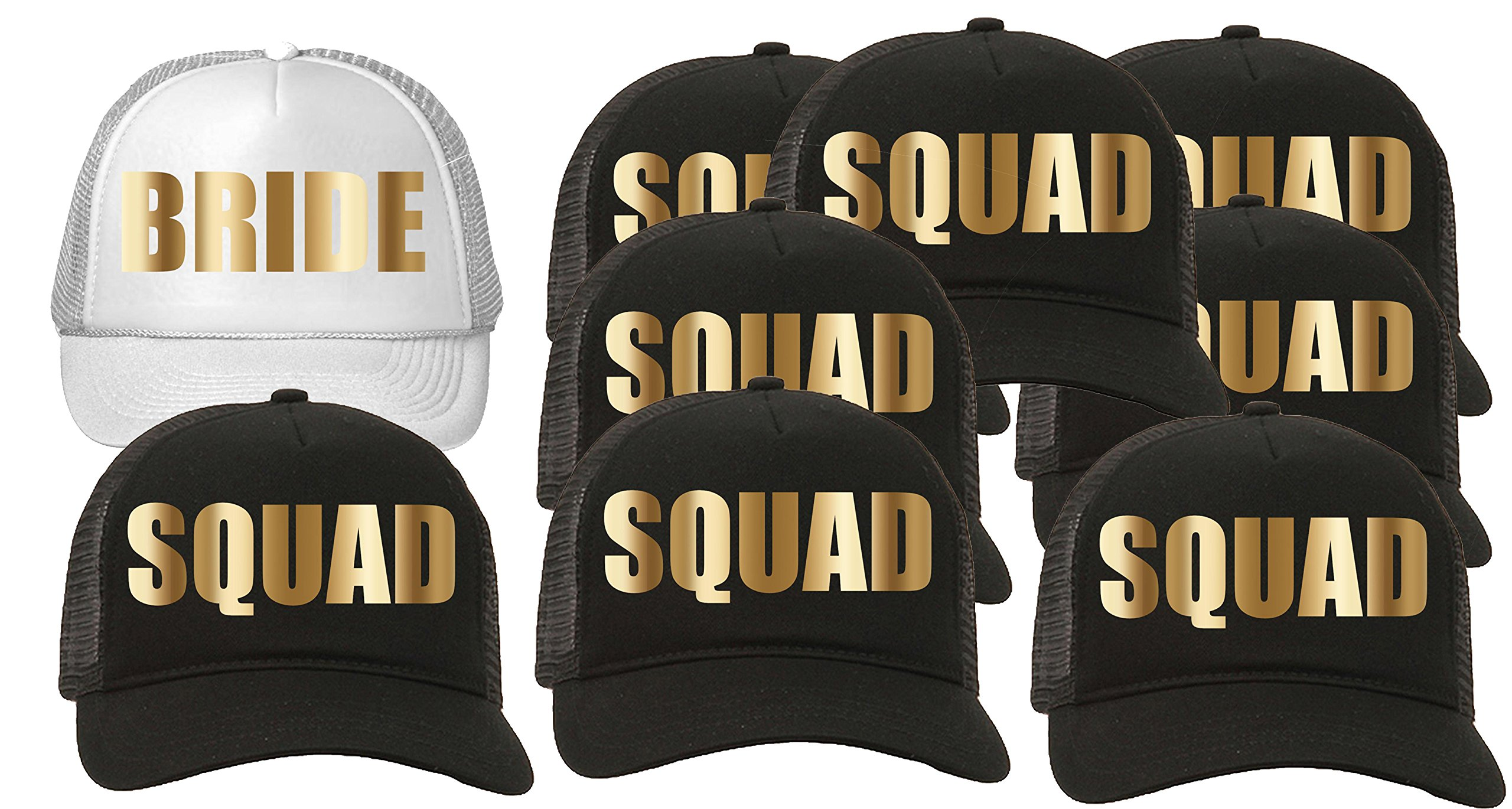 Trucker Hat Squad Bachelorette Party Wedding (9-Pack) 8-Black for the Squad/1-White for the Bride