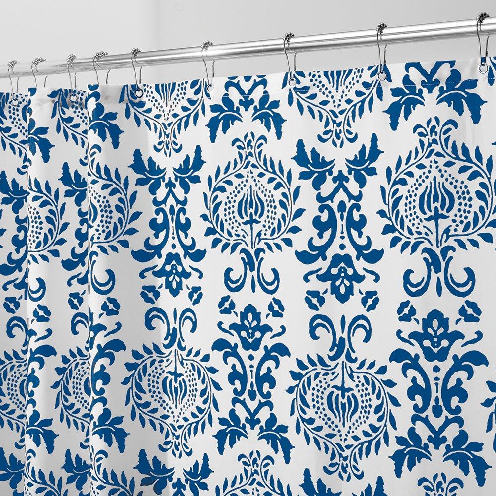 Amazon.com: InterDesign Damask Shower Curtain, Long 72 x 84, Navy ...