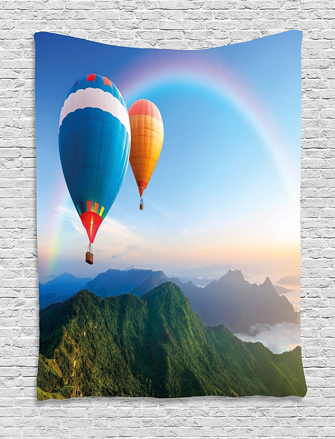 asddcdfdd Rainbow Tapestry, Hot Air Balloon Flying Lovely Mountain Side with Clear Sky and Rainbow, Wall Hanging for Bedroom Living Room Dorm, 60 W X 80 L Inches, Sky Blue Multicolor