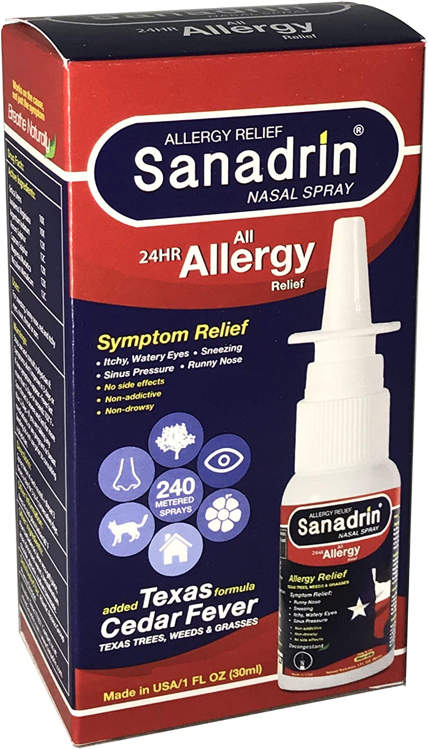 Sanadrin 24hr Allergy Relief Medicine - Texas Cedar Fever - Sneezing - Itchy, Watery Eyes - Sinus Pressure - Runny Nose - Full Prescription Strength - Boosts Immune System - Virus shield - Made in USA