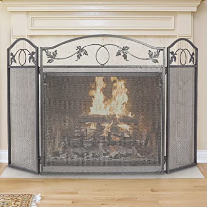 Amazoncom Amagabeli 3 Panel Pewter Wrought Iron Fireplace Screen