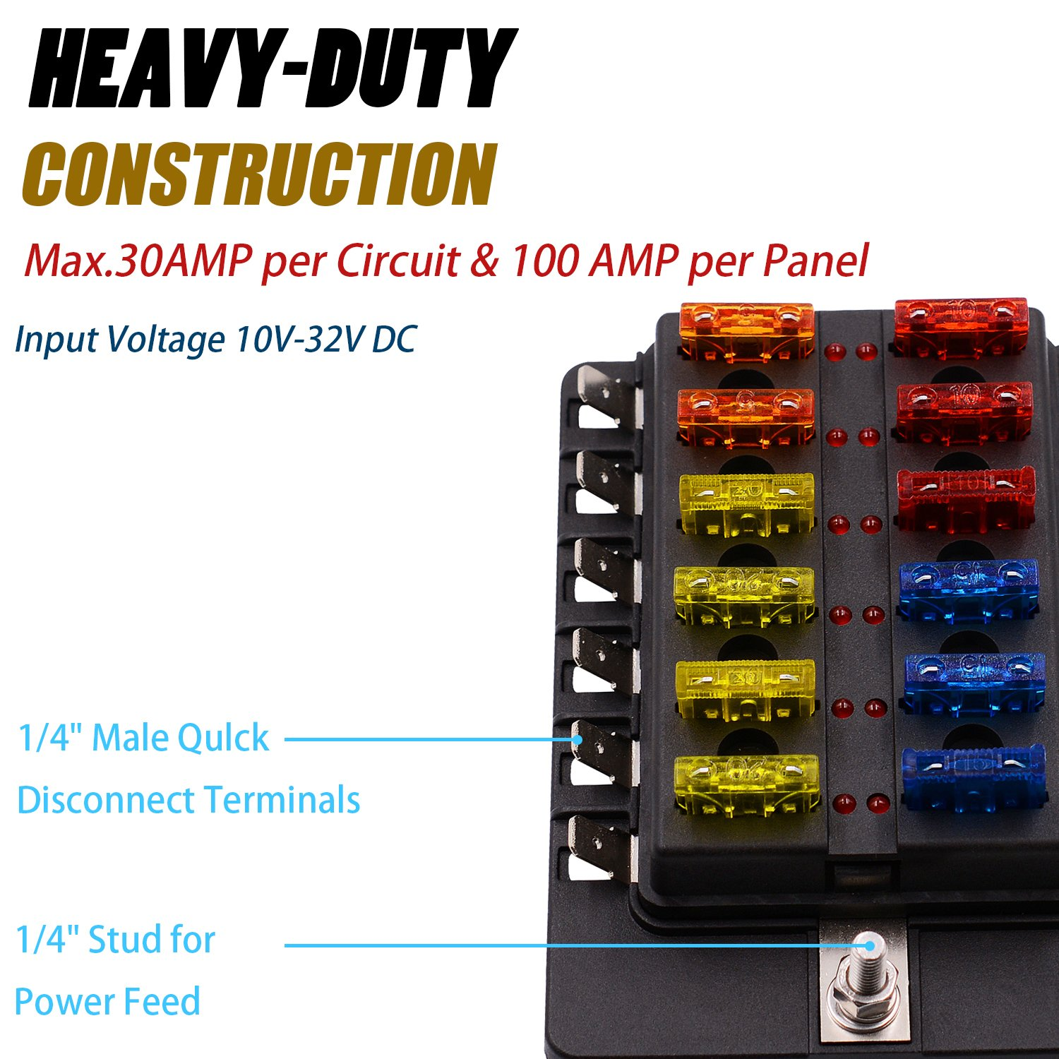 Bluefire 12 Way 30a 32v Blade Fuse Box Board With 24pcs Led Car Voltage Warning Light For Marine Boats Automotive Trike Csk82 Bf Electronics Features