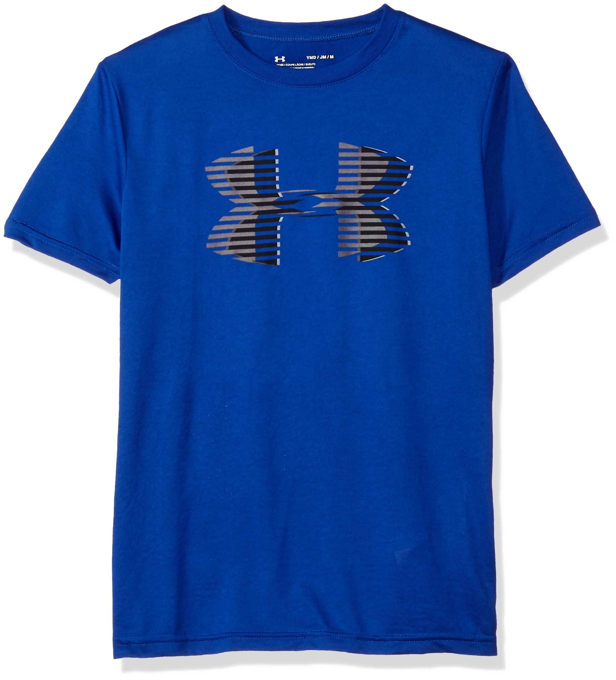 Under Armour Boys' Tech Big Logo Solid T-Shirt, Royal (400)/Graphite, Youth X-Small