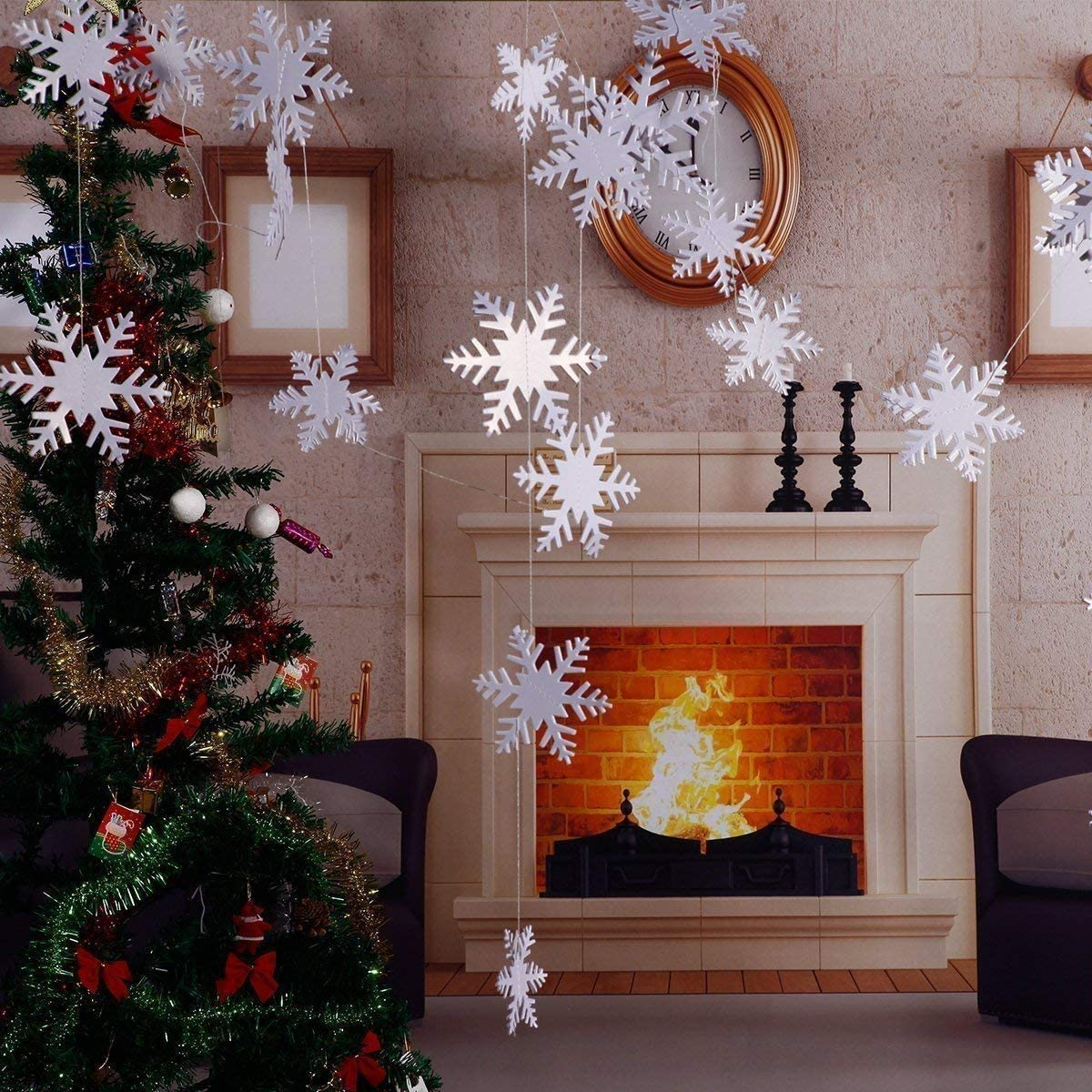5//set 3m White Paper Snowflake Bunting Garland Christmas Home Ornaments