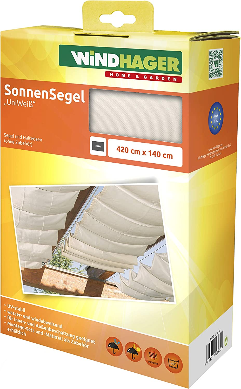 """Windhager Toldo Liso"""" Vela de protección Solar tecnología de tensado de Cables 420 x 140 cm, Ideal para pérgola o Invernadero, Blanco, 10872"""