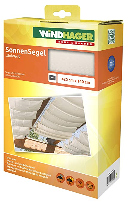 Windhager Sonnensegel Fur Seilspanntechnik Sonnenschutz Segel 420 X 140 Cm Ideal Fur Pergola Oder Wintergarten Uniweiss 10872
