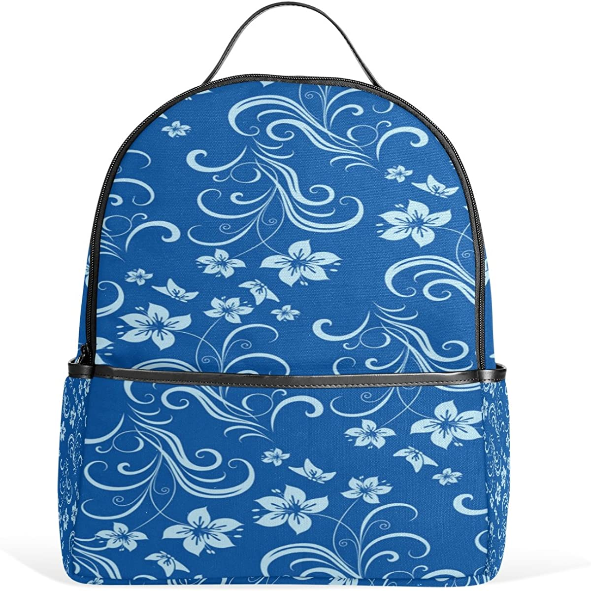 Mr.Weng Blue And White Cane Printed Canvas Backpack For Girl and Children