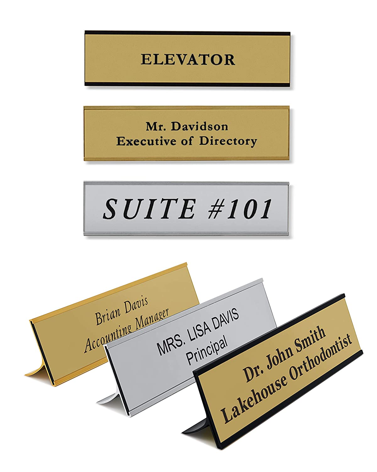 Name Plates for desks - Office Desk Name Plate Personalized with Desk or Wall Holder Customized Engraving 2x8