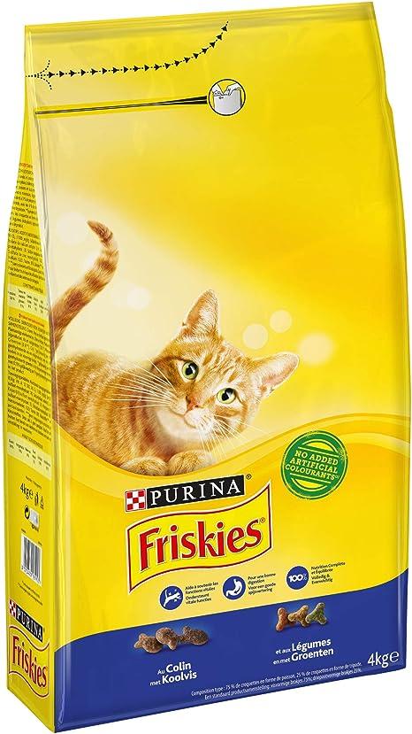 Purina Friskies Pienso para Gato Adulto Bacalao y Verduras 4 x 4 Kg: Amazon.es: Productos para mascotas