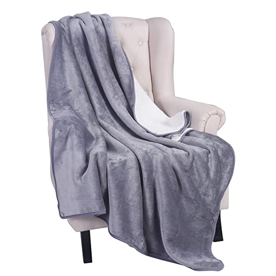 LITHER Sherpa Fleece Blanket Throw Size Grey Plush Reversible Lightweight Throw Blanket, Fuzzy Soft Blanket for Sofa Couch, 60x80inch