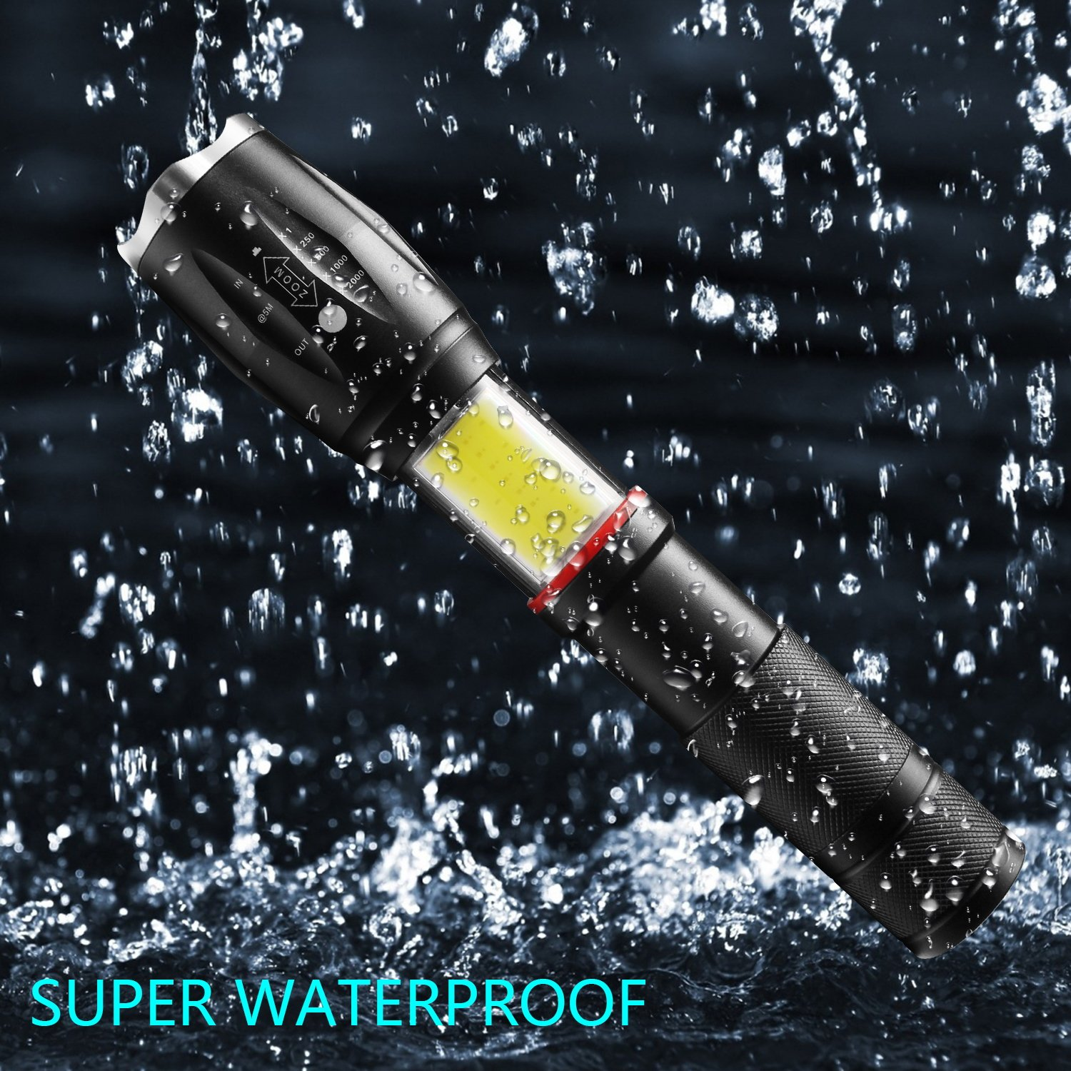 Magnet,/Water Resistant Torch 5 Light Modes Super Bright Flashlight COB Work Light Zoomable for Camping Hiking HUAERLI OK-F2