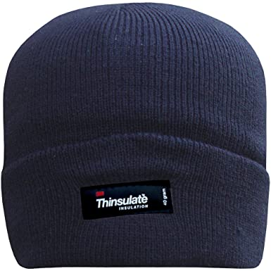 Men s Fleece Lined Thinsulate Turn Over Thermal Hat (Navy Blue ... 5eba374a7df