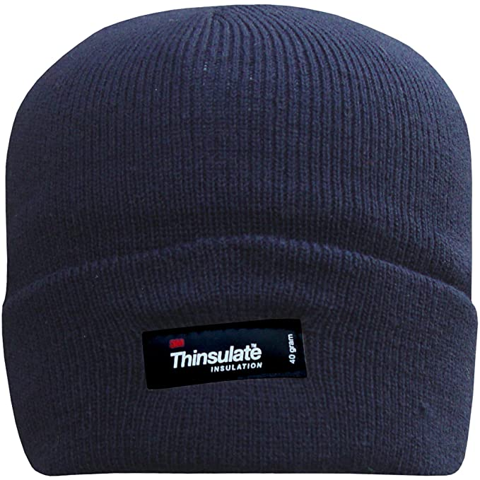 d0092c3f2c0 Men s Fleece Lined Thinsulate Turn Over Thermal Hat (Navy Blue ...