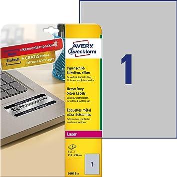 AVERY Zweckform L6013-20 Typenschild-Etiketten A4, 20 Stück, 210 x 297 mm, w...