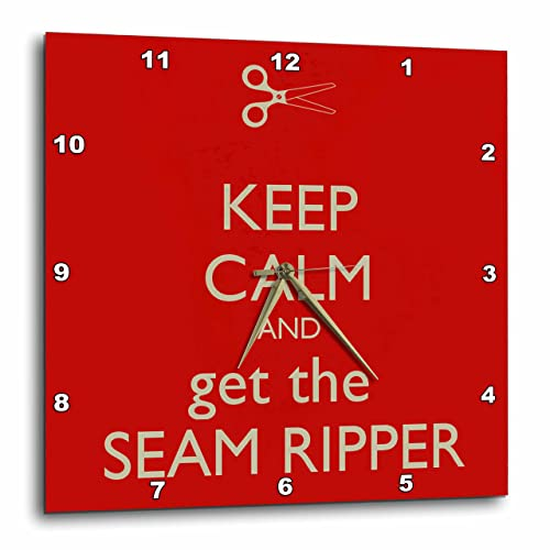 3dRose dpp_172004_3 Keep Calm and Get The Seam Ripper. Red and White-Wall Clock, 15 by 15-Inch