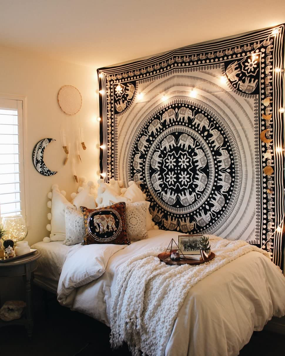 Elephant Tapestry Indian Wall Decor Hippie Mandala Tapestry Boho Tapestry White Color Wall Hanging by Diyana Impex (black and white)