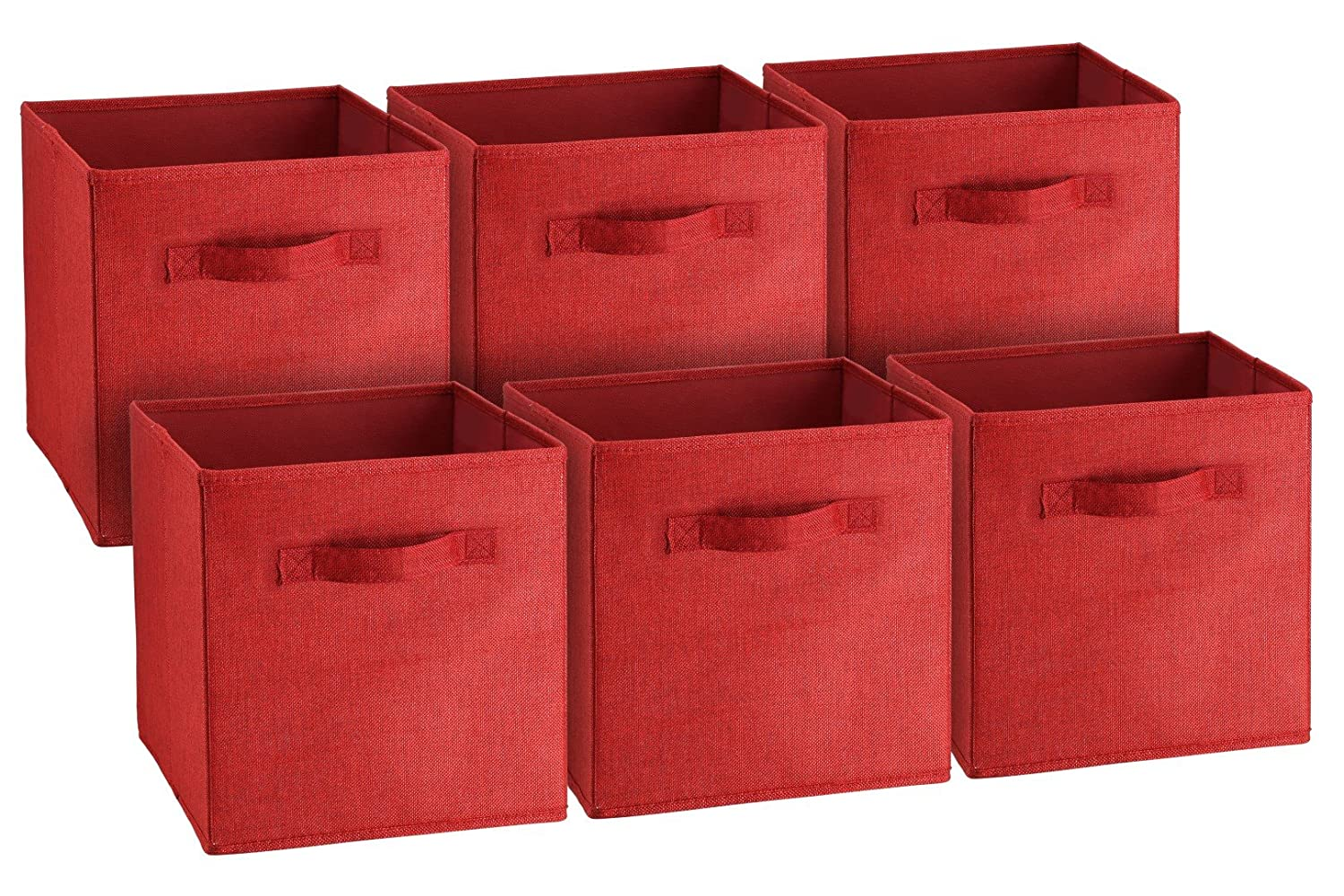 Best at a Glance Fabric Foldable Storage Cubes, Collapsible Square Organizing Bins, Folding Nursery Drawer Basket Cubicles, Cloth / Toy cube cubby Woven containers, 2 Handles, 6 pack (Bright Burgundy) Best-at-a-Glance 603
