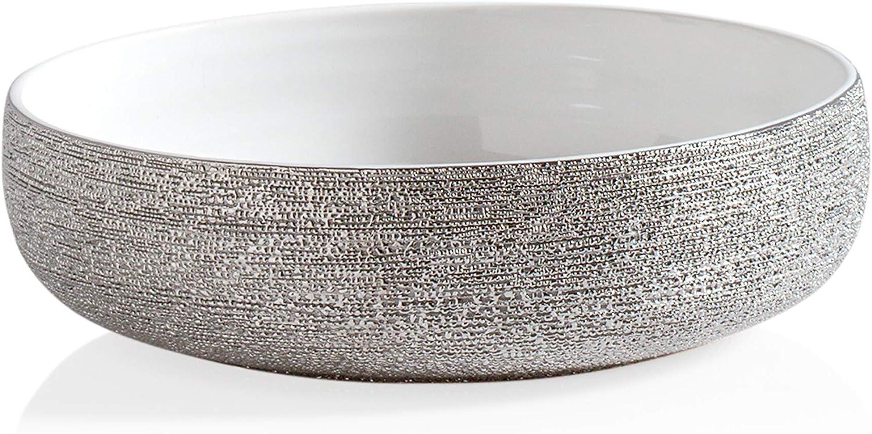 Torre & Tagus Brava Silver Spun Textured 10-Inch Bowl