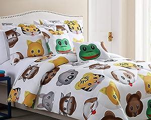 SPIRIT LINEN HOME FQ Animal 1 Emoji Five-Piece Comforter Set, Full/Queen