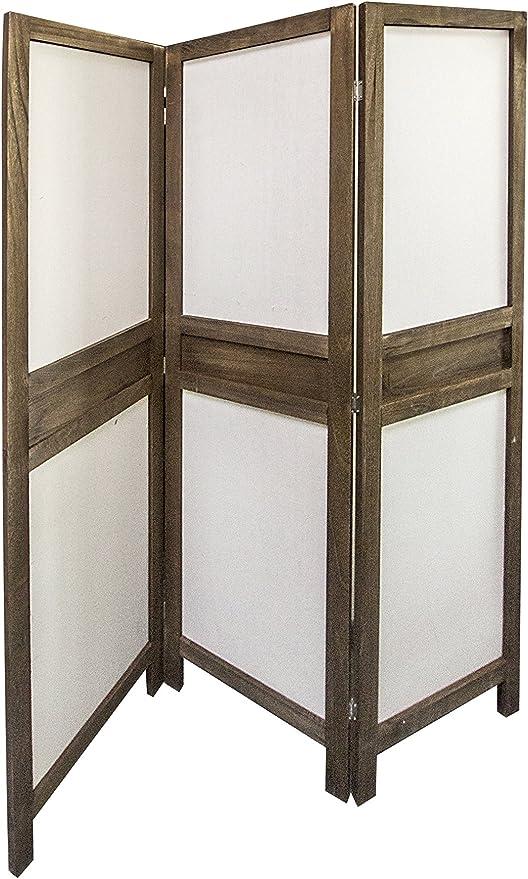 Rebecca SRL Separadores Biombo 3 Paneles Plegable Marrón Tela Marron Vintage Casa de Campo Salon Dormitorio (Cod. 0-1220): Amazon.es: Juguetes y juegos