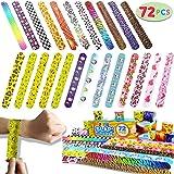 JOYIN Toy 72 PCs Slap Bracelets Party Favors Pack (24 Designs) with Colorful Hearts Animal Emoji and Unicorn