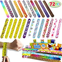 Joyin Toy 72 PCs Slap Bracelets Party Favors Pack (24 Designs) with Colorful Hearts Animal Emoji for Easter Egg Stuffers