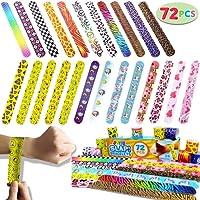 Joyin Toy 72 PCs Slap Bracelets Party Favors Pack (24 Designs) with Colorful Hearts Animal Emoji Valentine's Prints