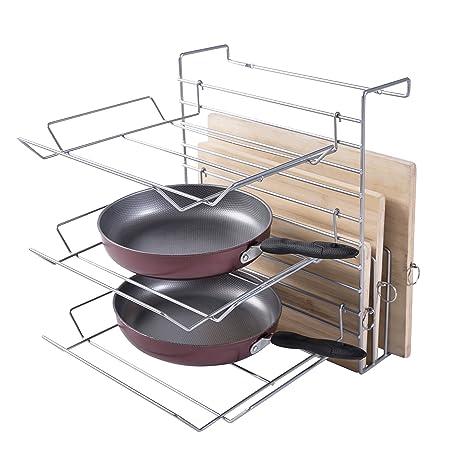3 Tier armario ajustable altura Metal Cocina Rack de almacenamiento organizador, sartenes de cocina y